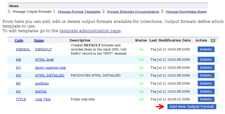 Output formats management page