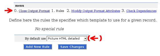 Output format menu